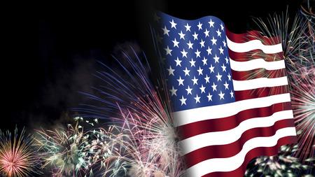 7 月の 4 日、背景、花火、アメリカ テーマ複合材料