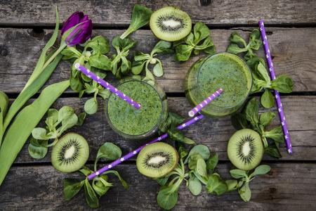 kiwifruit: Kiwifruit smoothie in glasses
