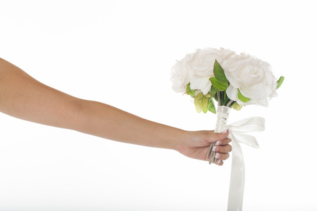 marrying: Bride holding bouquet, white background