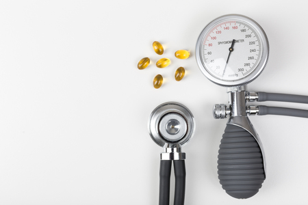 blood pressure gauge: Health checkup, blood pressure gauge,stethoscope, omega 3 fatty acids