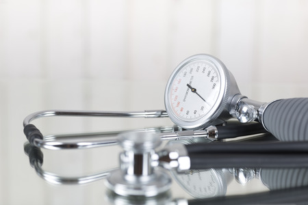 stethoscope: Blood pressure gauge and stethoscope