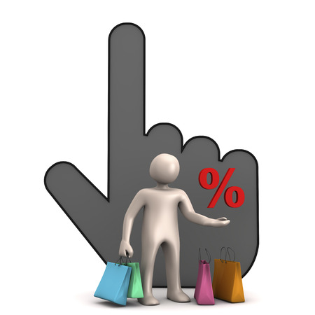 bargain: Bargain, online shopping, manikin with shopping bags