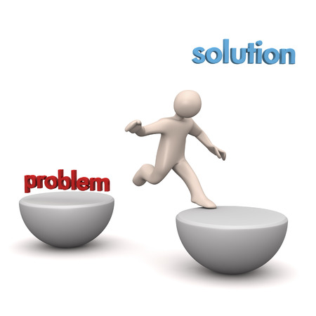 Consultancy, manikin jumping from problem to solution