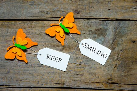 butterflys: Butterflys on wood, labels, keep smiling