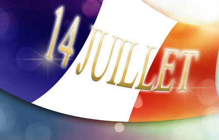 national colors: French flag, national colors, text 14 juillet