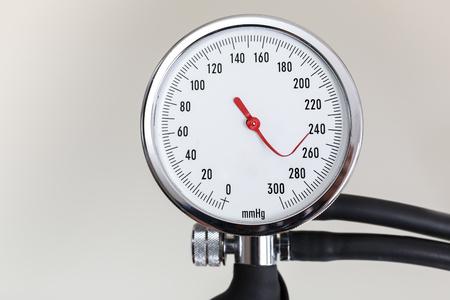 blood pressure gauge: Blood pressure gauge with bent indicator needle Stock Photo