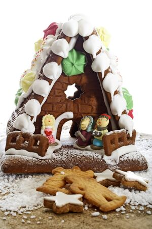 gingerbread house: Gingerbread house and Christmas cookies Stock Photo