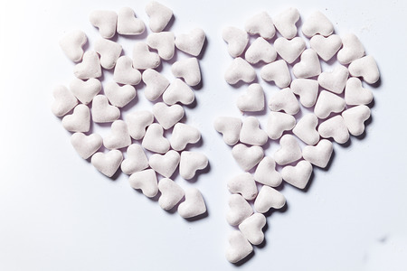 lovesickness: Broken heart, made of heart-shaped candy