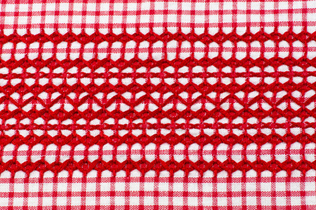 red and white: Embroidery, red white checked cloth Stock Photo