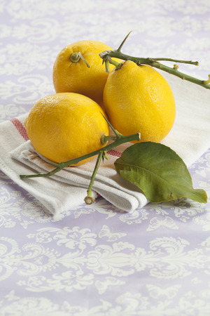 vitamine: Yellow lemons with green leaf on white cloth Stock Photo