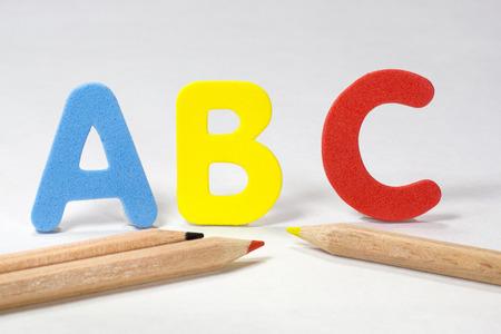 alphabet letter a: ABC letters and pencils