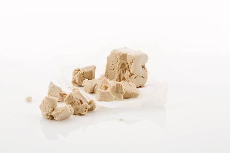 yeast: Yeast on greaseproof paper