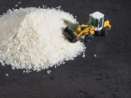 Toy digger on pile of rice, staple, distribution, trade