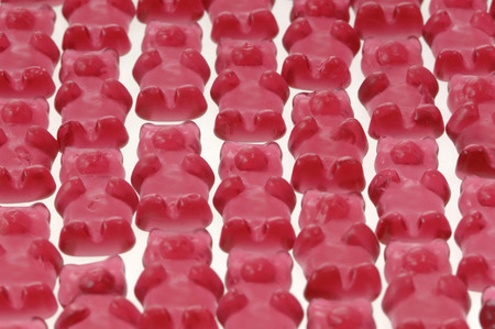 elevated view: Red Jelly babies, elevated view