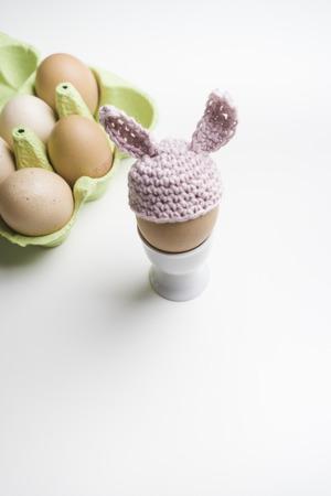 eggcup: Organic eggs, eggcup, hand-crocheted pink bunny