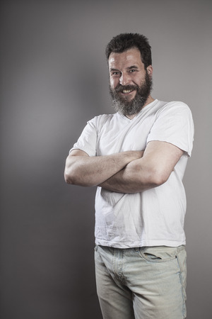 conceited: Portrait, man with full beard, smiling