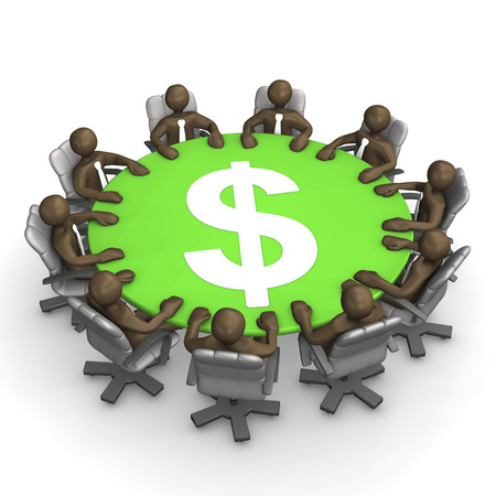conference table: 3D Illustration, figurines, conference table with dollar sign Stock Photo