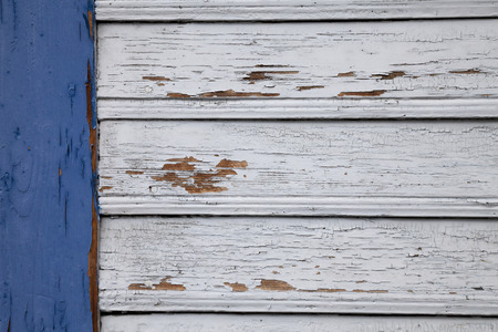 flaking: Wooden wall with flaking paint Stock Photo