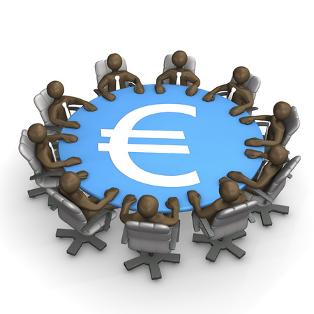 conference table: 3D Illustration, figurines, conference table with Euro sign Stock Photo