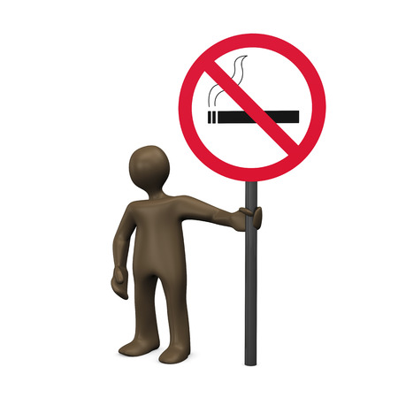 figurine: 3D Illustration, figurine with smoking ban sign