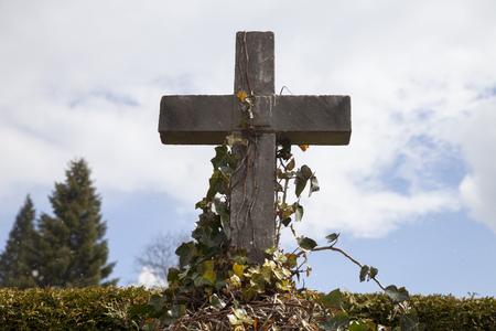 snowfall: Germany, Bavaria, cross with ivy, snowfall