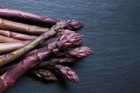 schist: Violet asparagus on slate