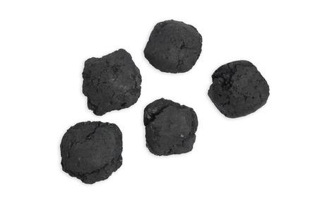 witte achtergrond: Barbecue kolen, een witte achtergrond Stockfoto