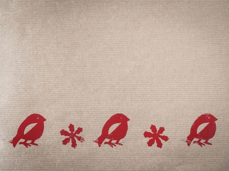 stamped: Wrapping paper with motive, stars and birds, red, stamped