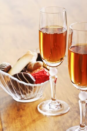 sherry: Sherry glasses and pralines in a bowl