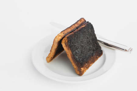 burnt toast: Burnt toast bread slices