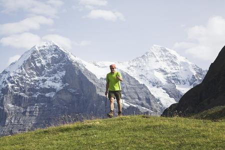nordic walking: Switzerland, Bern Alps, hiker, nordic walking
