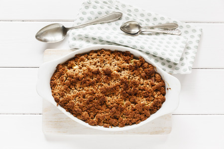 wholegrain: Rhubarb crumble, baked with whole-grain flour