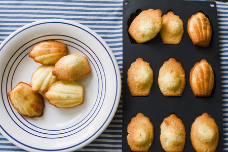 afters: Home made Madeleine cookies on plate and in baking dish
