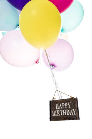 childrens birthday party: Colorful balloons, old sign, Happy Birthday Stock Photo
