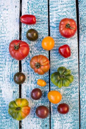 heirloom: Heirloom tomatoes on blue wood