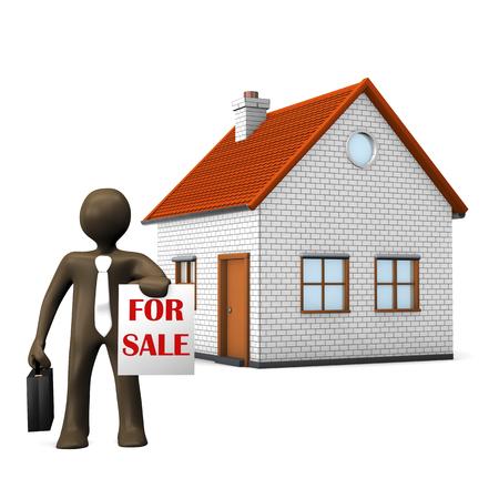 estate agent: 3D Illustration, cartoon character, estate agent, sign for sale