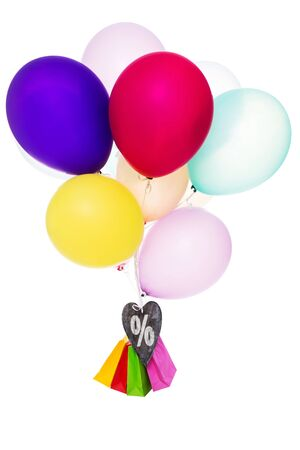 percentage sign: Colorful balloons, heart with Percentage sign and bags