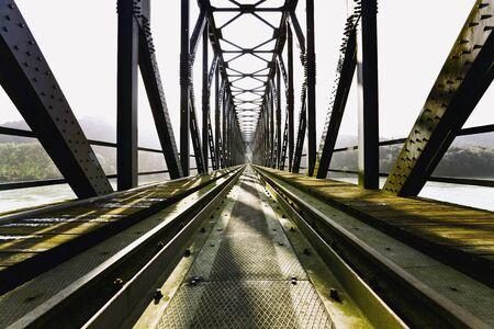 rail route: Austria,Germany,Passau,View of old railway bridge
