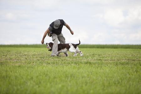 messing: Man training English Springer Spaniel in grass field