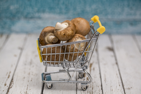 consuming: Miniature shopping cart with mushrooms