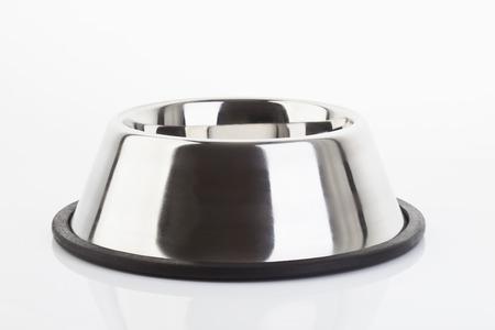 dog bowl: Dog bowl on white background Stock Photo