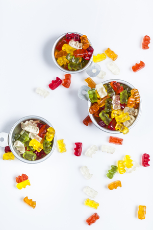 gummi: Gummi bears in bowls Stock Photo