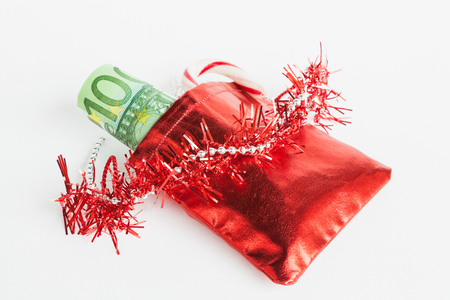 euro notes: Santas sack, Euro notes Stock Photo