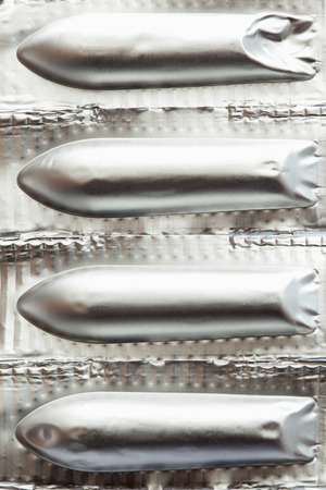 suppositories: Suppositories packaged,close up