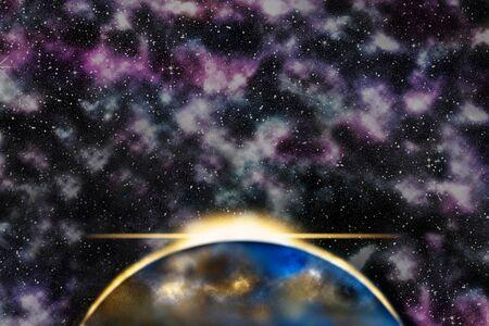 Opkomende zon achter de planeet, nevel melkweg op de achtergrond