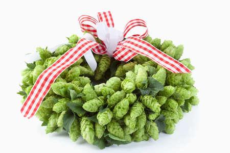 against white: Wreath of hops against white