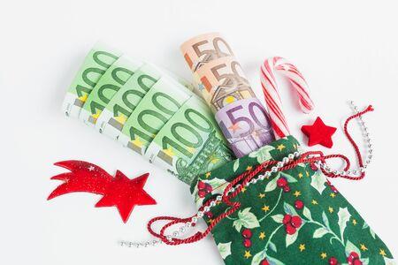 billets euro: Cadeau de No�l, le sac du P�re No�l, Euro notes