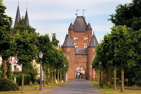 incidental people: Germany,North Rhine-Westphalia,Xanten,North Wall,The northern city gate of Xanten,the Klever Tor gate Editorial