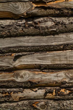 wooden hut: Natural spruce on wooden hut, detail