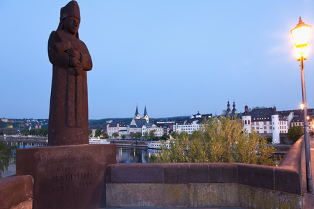 elector: Koblenz ,View  of statue of Archbishop and elector Balduin on Balduin bridge with old town on river Mosel